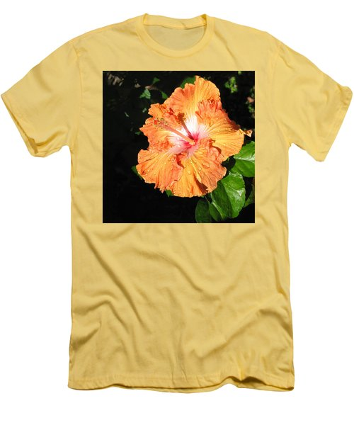 Orange Hibiscus After The Rain 1 Men's T-Shirt (Slim Fit) by Connie Fox