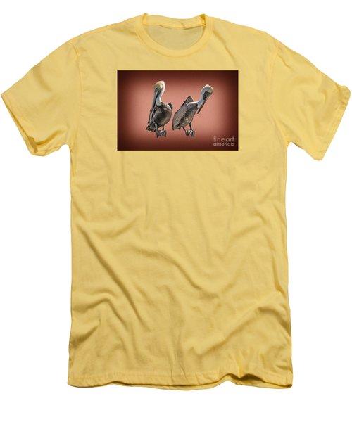 Men's T-Shirt (Slim Fit) featuring the photograph Pelicans Posing by Dan Friend