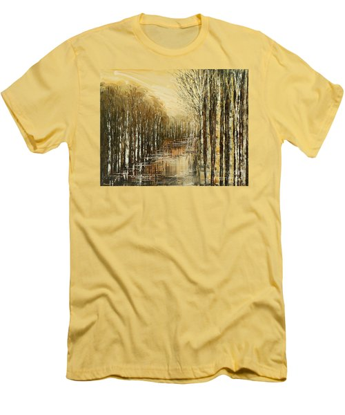 Men's T-Shirt (Slim Fit) featuring the painting Pond Security by Tatiana Iliina