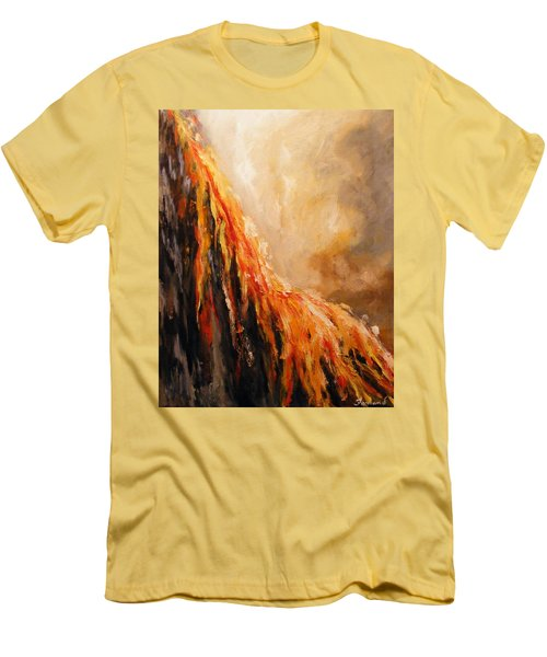 Men's T-Shirt (Slim Fit) featuring the painting Quite Eruption by Karen  Ferrand Carroll