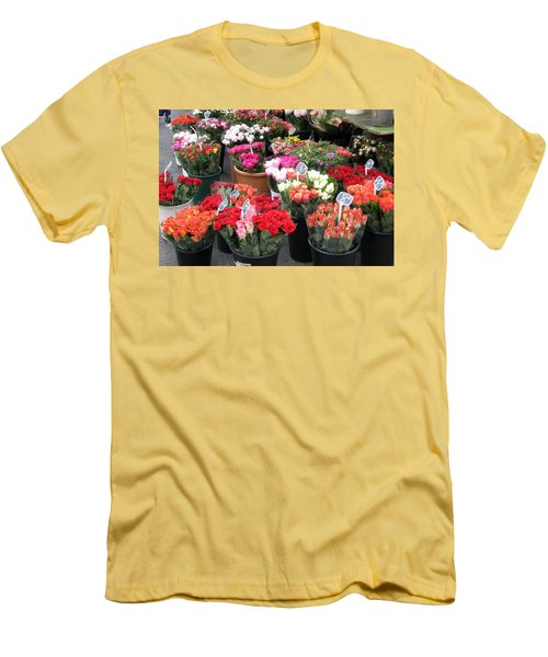 Men's T-Shirt (Slim Fit) featuring the photograph Red Flowers In French Flower Market by Carla Parris