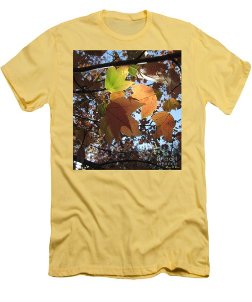 Men's T-Shirt (Slim Fit) featuring the photograph Sun-lite Fall Leaves by Donna Brown