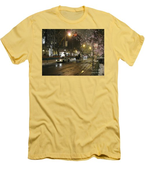 Men's T-Shirt (Athletic Fit) featuring the photograph The Past Meets The Present In Chicago Il by Ausra Huntington nee Paulauskaite