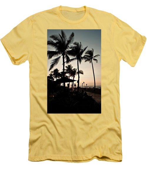 Tropical Island Silhouette Beach Sunset Men's T-Shirt (Slim Fit) by Valerie Garner