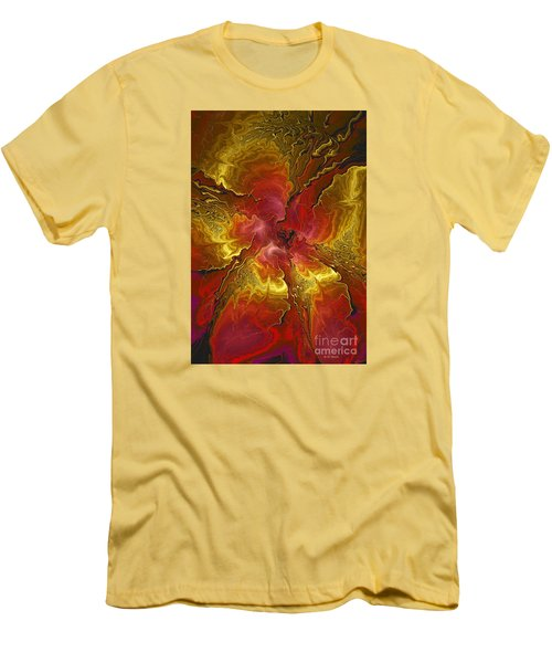 Vibrant Red And Gold Men's T-Shirt (Slim Fit) by Deborah Benoit