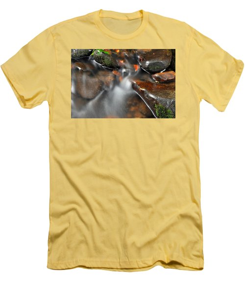 Men's T-Shirt (Slim Fit) featuring the photograph Water Over Rocks by Kay Lovingood