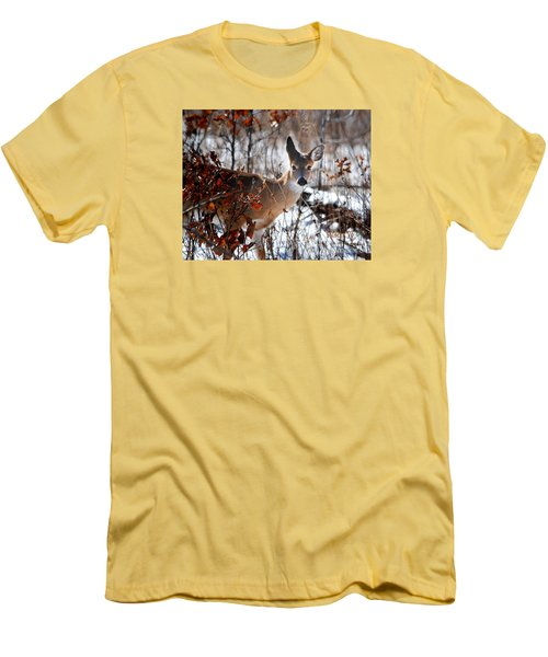 Whitetail Deer In Snow Men's T-Shirt (Slim Fit) by Nava Thompson