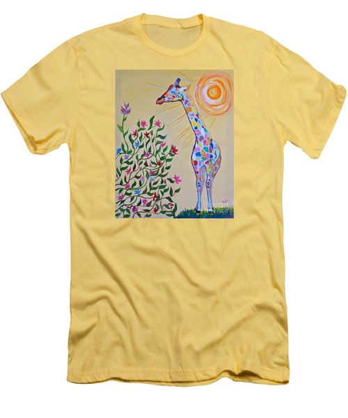 Wild And Crazy Giraffe Men's T-Shirt (Slim Fit) by Phyllis Kaltenbach