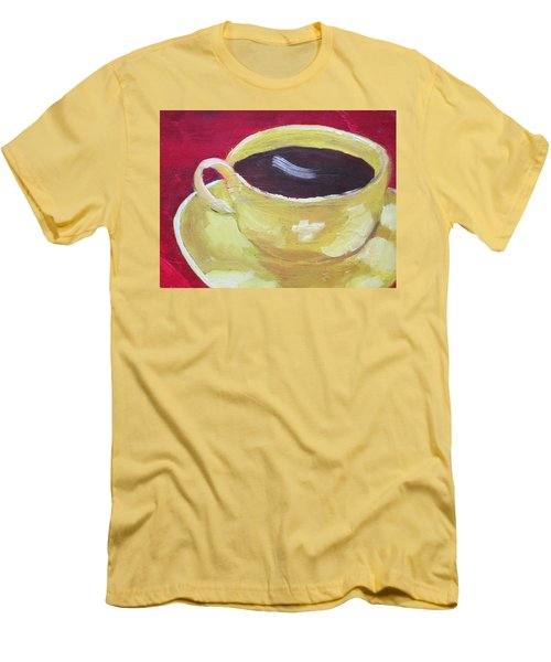 Yellow Cup On Red Men's T-Shirt (Slim Fit) by Patricia Cleasby