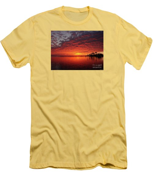 0205 Awesome Sunset Colors On Santa Rosa Sound Men's T-Shirt (Slim Fit) by Jeff at JSJ Photography