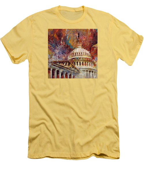 070 United States Capitol Building - Us Independence Day Celebration Fireworks Men's T-Shirt (Slim Fit) by Maryam Mughal