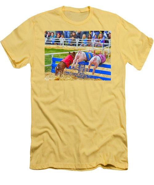 Men's T-Shirt (Athletic Fit) featuring the photograph At The Pig Races by AJ Schibig