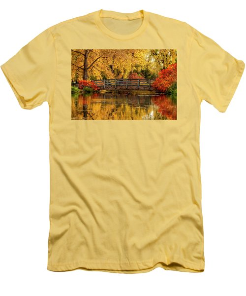 Autumn In The Park Men's T-Shirt (Slim Fit) by Teri Virbickis