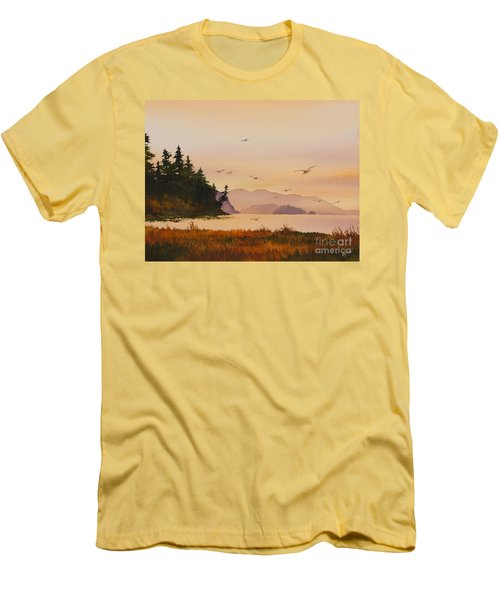 Men's T-Shirt (Slim Fit) featuring the painting Autumn Shore by James Williamson