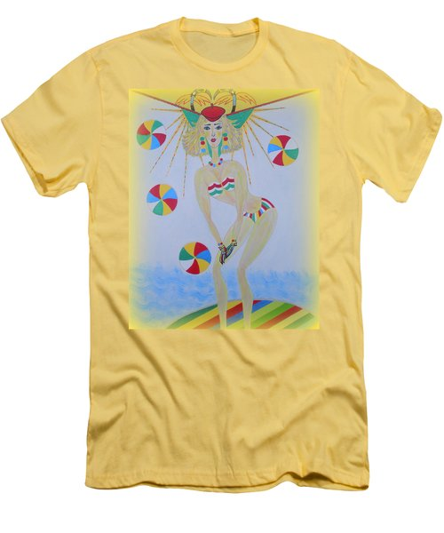 Beach Ball Surfer Men's T-Shirt (Slim Fit) by Marie Schwarzer