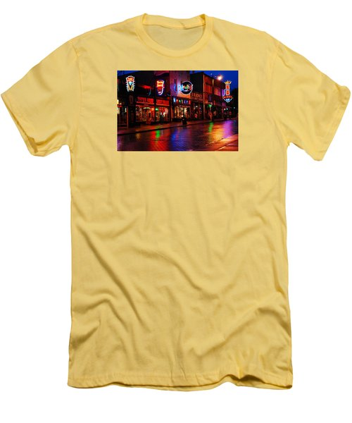 Men's T-Shirt (Slim Fit) featuring the photograph Beale Street Memphis by James Kirkikis