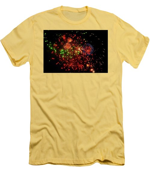 Beautiful Fireworks Against The Black Sky Of The New Year Men's T-Shirt (Athletic Fit)