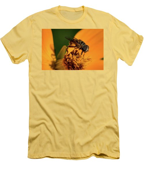 Men's T-Shirt (Slim Fit) featuring the photograph Bee On Flower by Jay Stockhaus