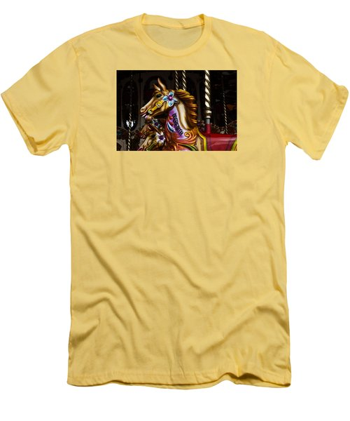 Men's T-Shirt (Slim Fit) featuring the photograph Carousel Horses by Steve Purnell
