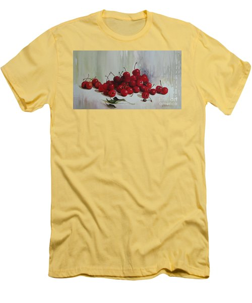 Men's T-Shirt (Slim Fit) featuring the painting Cherries by Elena Oleniuc