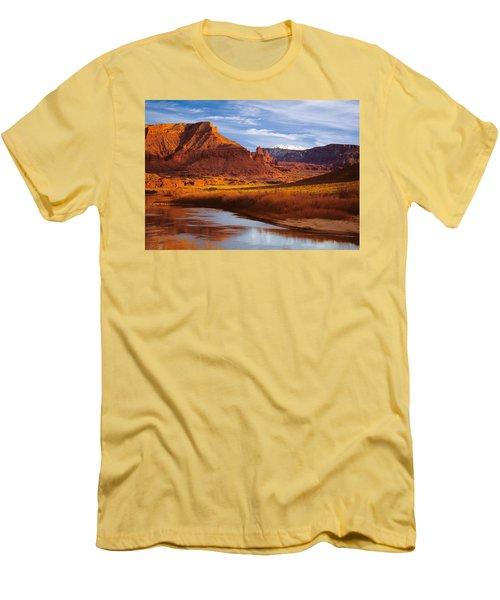 Colorado River At Fisher Towers Men's T-Shirt (Slim Fit) by Utah Images