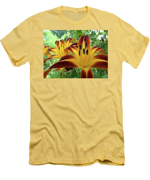 Daylilies At Daybreak Men's T-Shirt (Slim Fit) by Rebecca Overton