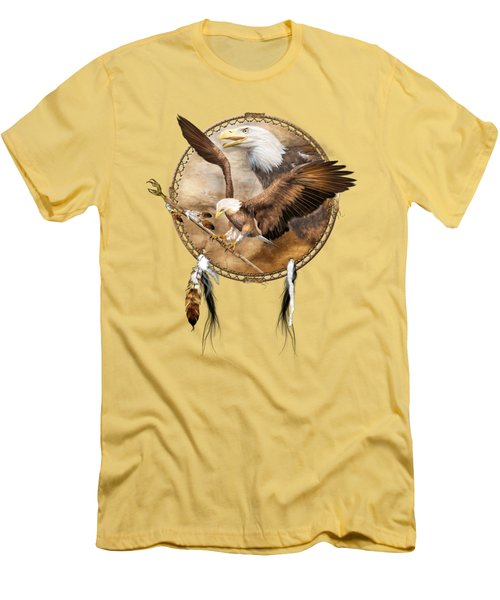 Men's T-Shirt (Slim Fit) featuring the mixed media Dream Catcher - Spirit Eagle 2 by Carol Cavalaris