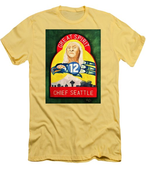 Great Spirit Seattle 12s Men's T-Shirt (Slim Fit) by Rand Swift
