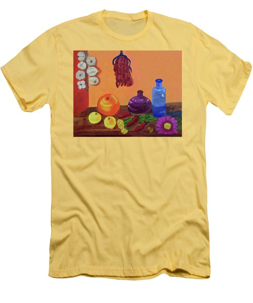 Men's T-Shirt (Slim Fit) featuring the painting Hanging Around With Spices by Margaret Harmon