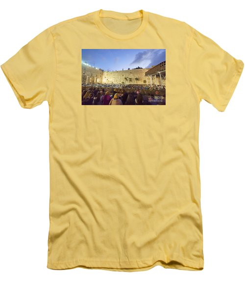Jewish Sunrise Prayers At The Western Wall, Israel 8 Men's T-Shirt (Athletic Fit)