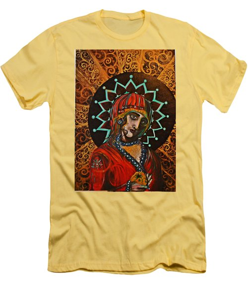 Men's T-Shirt (Slim Fit) featuring the painting Lady Of Spades by Sandro Ramani