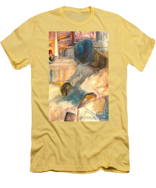 Men's T-Shirt (Slim Fit) featuring the painting Mr Hunters Porch by Daun Soden-Greene