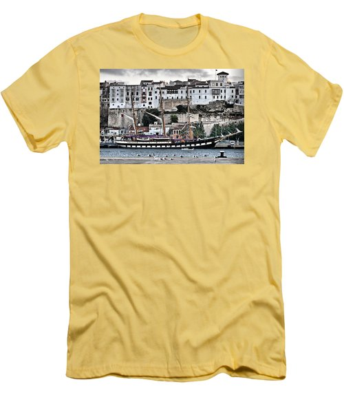 Old Port Mahon And Italian Sail Training Vessel Palinuro Hdr Men's T-Shirt (Athletic Fit)