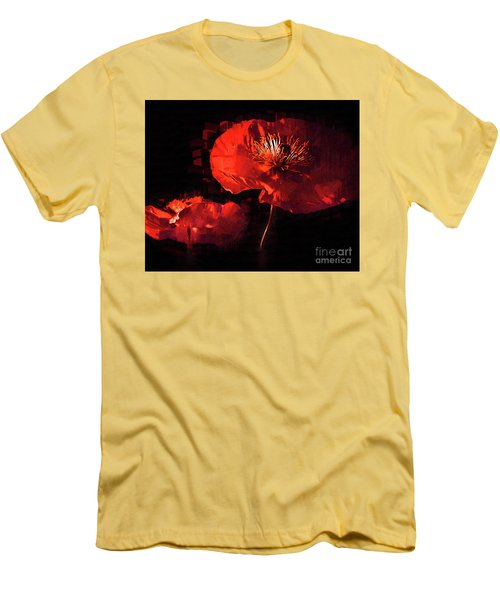 Two Red Poppies Men's T-Shirt (Slim Fit) by Kirt Tisdale