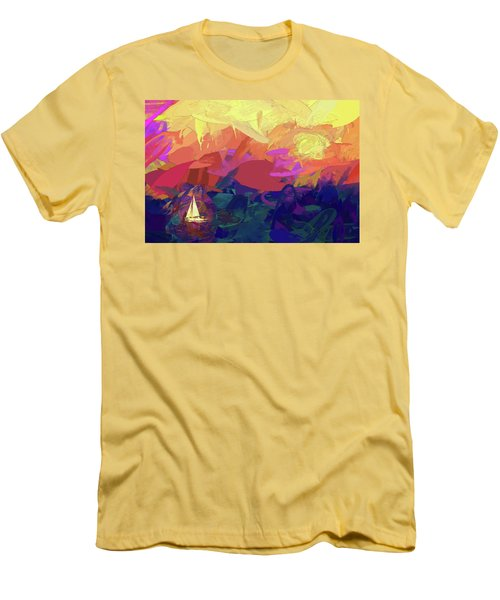 Men's T-Shirt (Slim Fit) featuring the photograph Sailing by James Bethanis