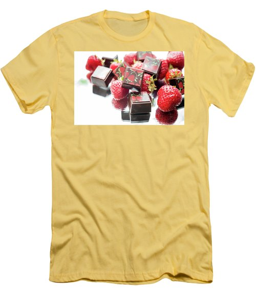 Strawberry Delight Men's T-Shirt (Slim Fit) by Sabine Edrissi