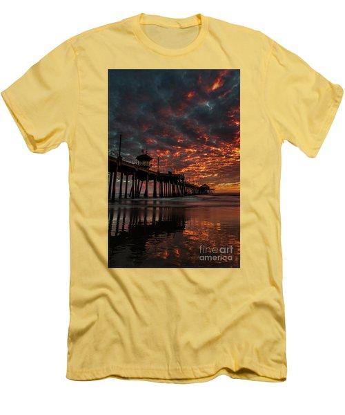 Sunset Over Huntington Beach Pier Men's T-Shirt (Slim Fit) by Peter Dang