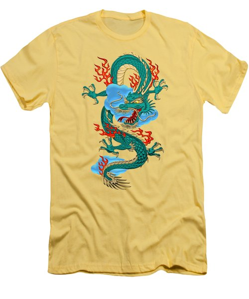 The Great Dragon Spirits - Turquoise Dragon On Rice Paper Men's T-Shirt (Slim Fit) by Serge Averbukh