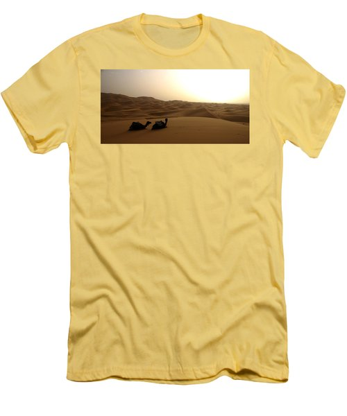 Two Camels At Sunset In The Desert Men's T-Shirt (Slim Fit) by Ralph A  Ledergerber-Photography