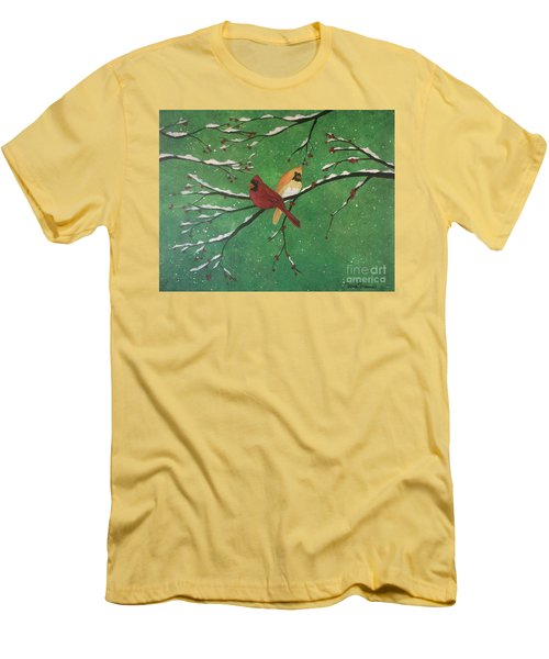 Men's T-Shirt (Athletic Fit) featuring the painting Winter Cardinals by Denise Tomasura