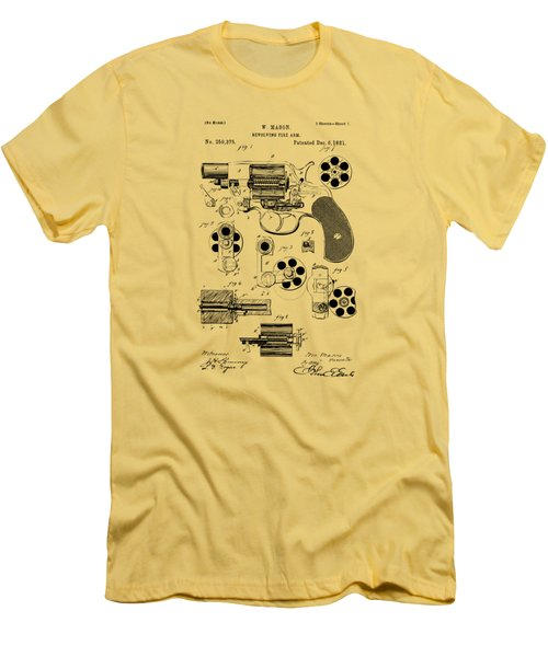 Men's T-Shirt (Slim Fit) featuring the drawing 1881 Colt Revolving Fire Arm Patent Artwork Vintage by Nikki Marie Smith