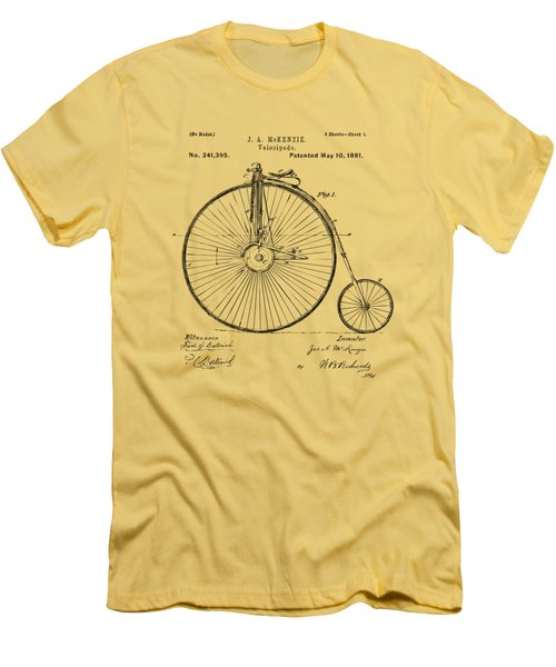 1881 Velocipede Bicycle Patent Artwork - Vintage Men's T-Shirt (Slim Fit) by Nikki Marie Smith