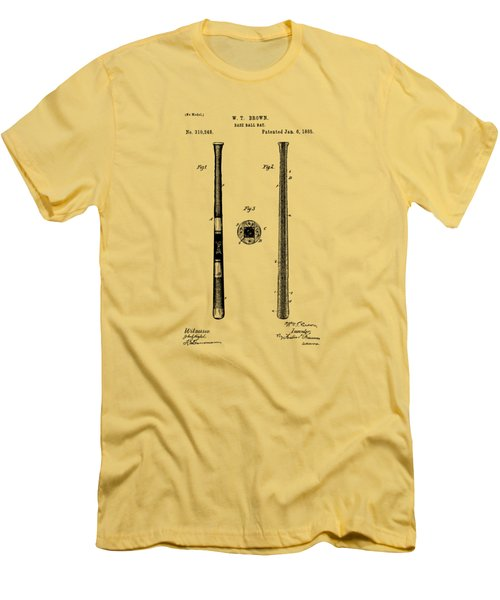 1885 Baseball Bat Patent Artwork - Vintage Men's T-Shirt (Slim Fit) by Nikki Marie Smith
