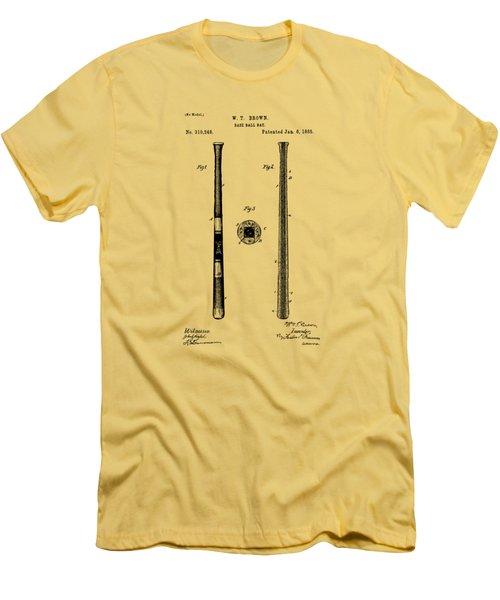 1885 Baseball Bat Patent Artwork - Vintage Men's T-Shirt (Slim Fit) by Nikki Marie Smith