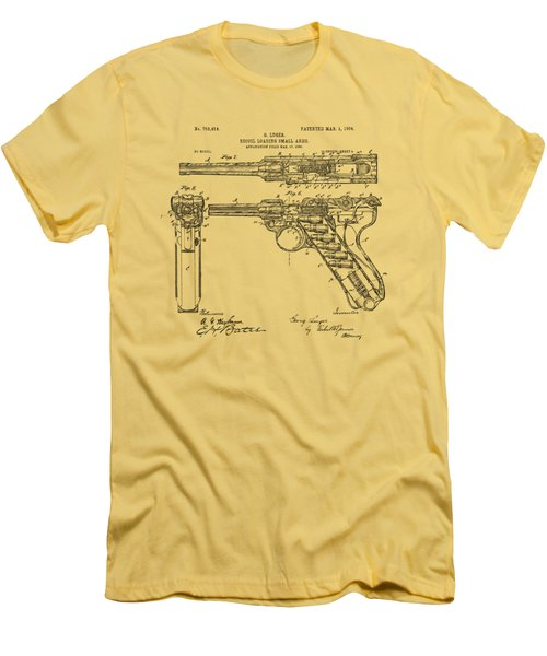 Men's T-Shirt (Slim Fit) featuring the drawing 1904 Luger Recoil Loading Small Arms Patent - Vintage by Nikki Marie Smith