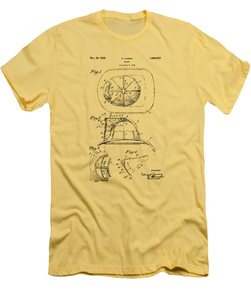 Men's T-Shirt (Slim Fit) featuring the drawing 1932 Fireman Helmet Artwork Vintage by Nikki Marie Smith