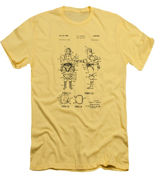 1968 Hard Space Suit Patent Artwork - Vintage Men's T-Shirt (Slim Fit) by Nikki Marie Smith