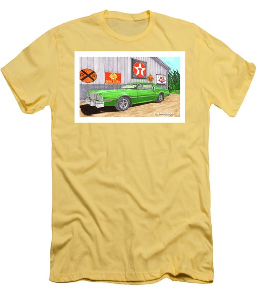 Men's T-Shirt (Slim Fit) featuring the painting 1976 Ford Thunderbird by Jack Pumphrey