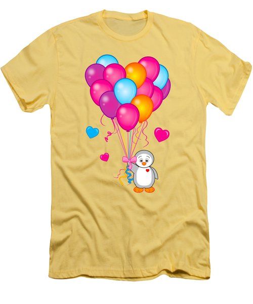 Baby Penguin With Heart Balloons Men's T-Shirt (Slim Fit) by A