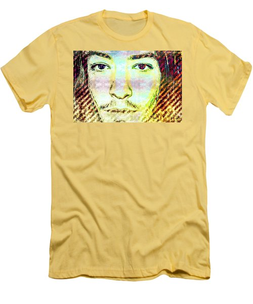 Men's T-Shirt (Slim Fit) featuring the mixed media Ezra Miller by Svelby Art